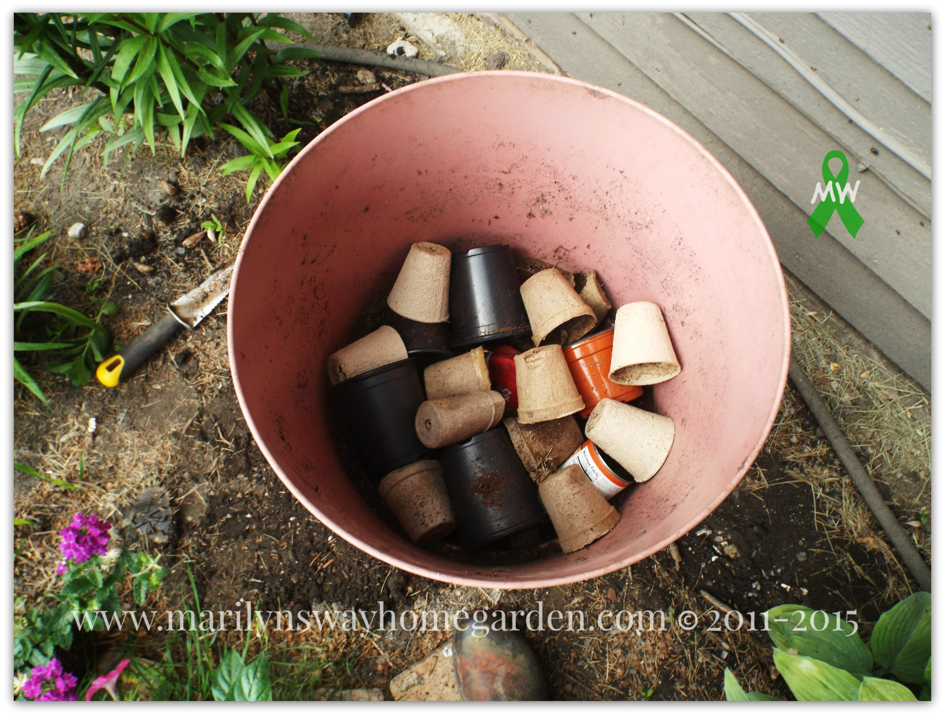 Fill with empty cans, inverted pots, six pack containers, starter pots.